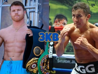 Canelo Alvarez holding his super middleweight title belts, IBF world champion Gennady Golovkin shadow boxing