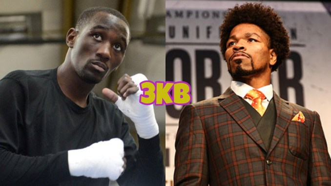 WBO welterweight champion Terence Crawford with raised fists, Shawn Porter looking to his right