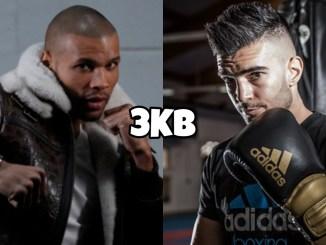 Chris Eubank Jr takes a fighting pose, Wanik Awdijan sporting adidas boxing gear