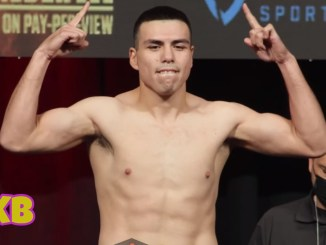 Vladimir Hernandez poses at fight weigh-in for Julian Williams fight