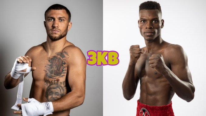 Vasiliy Lomachenko wrapping his hands, Richard Commey in a fighting stance