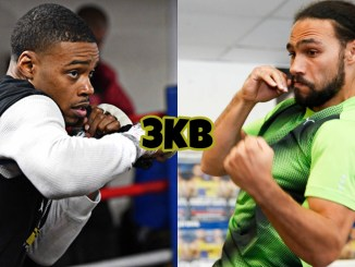 Unified champion Errol Spence in training, former welterweight champion Keith Thurman shadow boxing