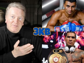 (clockwise from left) Frank Warren motions to his left, David Avanesyan, Conor Benn with his welterweight title belt