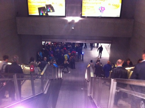 Norreport Metro Station (Copenhagen) is very crowded in rush hour
