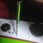 風呂敷ハンドの縫い穴目印を革に写す