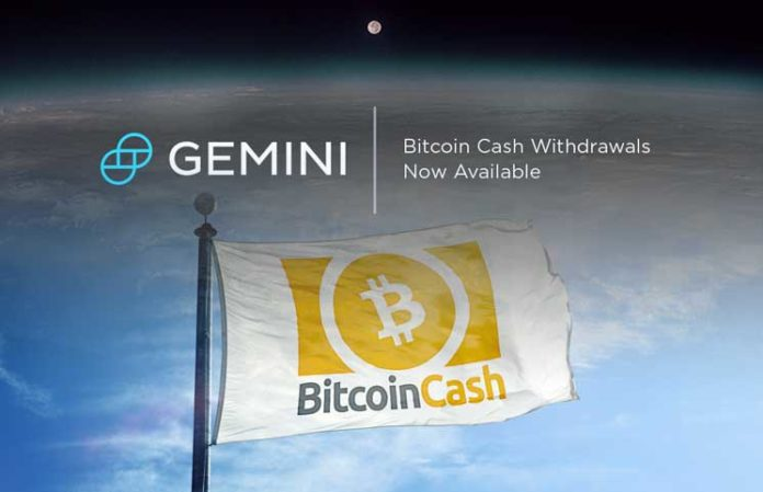 Gemini Crypto Exchange Announces Bitcoin Cash (BCH) Trading and Custody Services