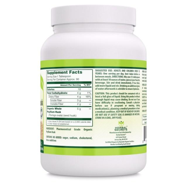 Herbal Secrets Organic Whole Husk Psyllium Powder - supplement facts