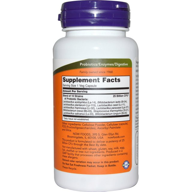 Now Foods All Natural Non-GMO 10 Strain Probiotic: 25 billion CFU (100 count) - supplement facts