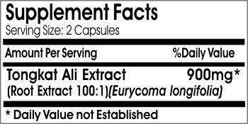 100% All Natural Non-GMO Tongkat Ali - supplement facts