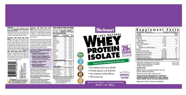 Bluebonnet 100% All Natural Undenatured Non-GMO Grass-Fed Whey Protein Isolate - FREE SHIPPING