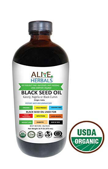Alive Herbals Organic Cold-Pressed Black Cumin Seed Oil - FREE SHIPPING with AMAZON PRIME