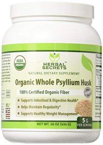 Herbal Secrets Organic Whole Husk Psyllium Powder - FREE SHIPPING with AMAZON PRIME