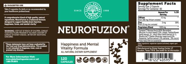 All-Natural Non-GMO NeuroFuzion - supplement facts