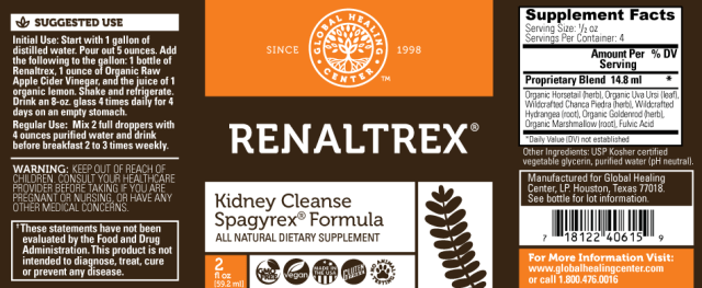 Renaltrex All Natural Non-GMO Herbal Kidney Support Formula - supplement facts