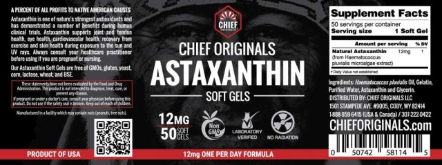 Chief Organics Organic Astaxanthin - supplement facts