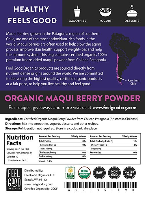 Feel Good Organics 100% Raw Organic Maqui Berry Powder - supplement facts
