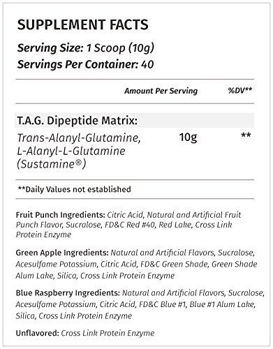 TAG All Natural Non-GMO non-free form Glutamine -supplement facts
