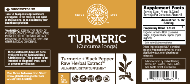 GHC Organic Turmeric + Black Pepper Raw Herbal Extract - supplement facts