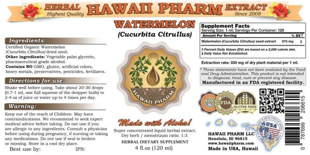 Hawaii Pharm All Natural Non-GMO Alcohol-Free Watermelon Extract - supplement facts