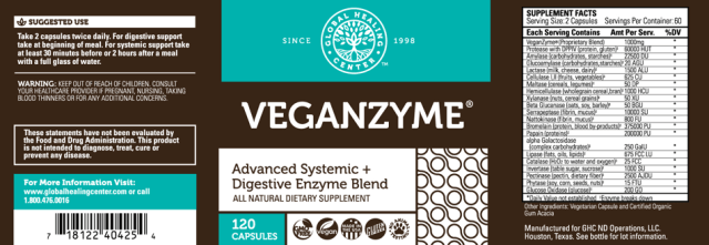 GHC All-Natural Non-GMO VeganZyme: Digestive & Systemic Enzymes for Healthy Digestion - supplement facts