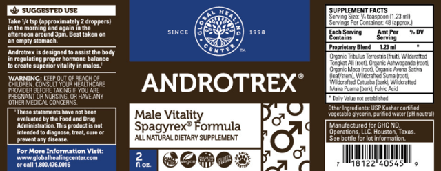 Androtrex All Natural Non-GMO Male Vitality Booster - supplement facts