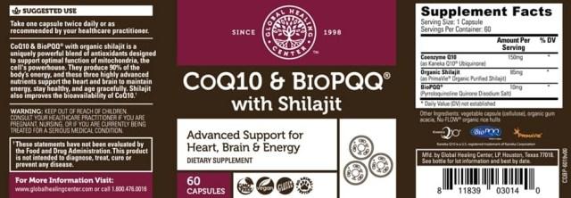 GHC All-Natural Non-GMO CoQ10 & BioPQQ with Shilajit - supplement facts