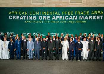 The African Heads of States and Governments pose during African Union (AU) Summit for the agreement to establish the African Continental Free Trade Area in Kigali, Rwanda, on March 21, 2018. / AFP PHOTO / STR        (Photo credit should read STR/AFP/Getty Images)