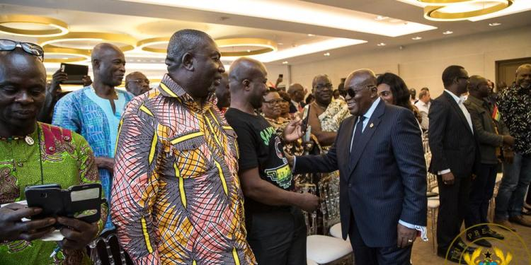 President Akufo-Addo with some Ghanaians in France