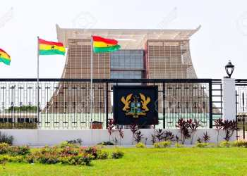 "ACCRA, GHANA - FEBRUARY 23, 2012: The Flagstaff House, commonly known as ""Flagstaff House"", is the presidential palace in Accra which serves as a residence and office to the President of Ghana."
