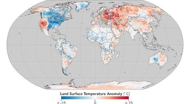 Україна на карті температурних рекордів NASA потрапила на периферію неприродно теплої зони в Європі