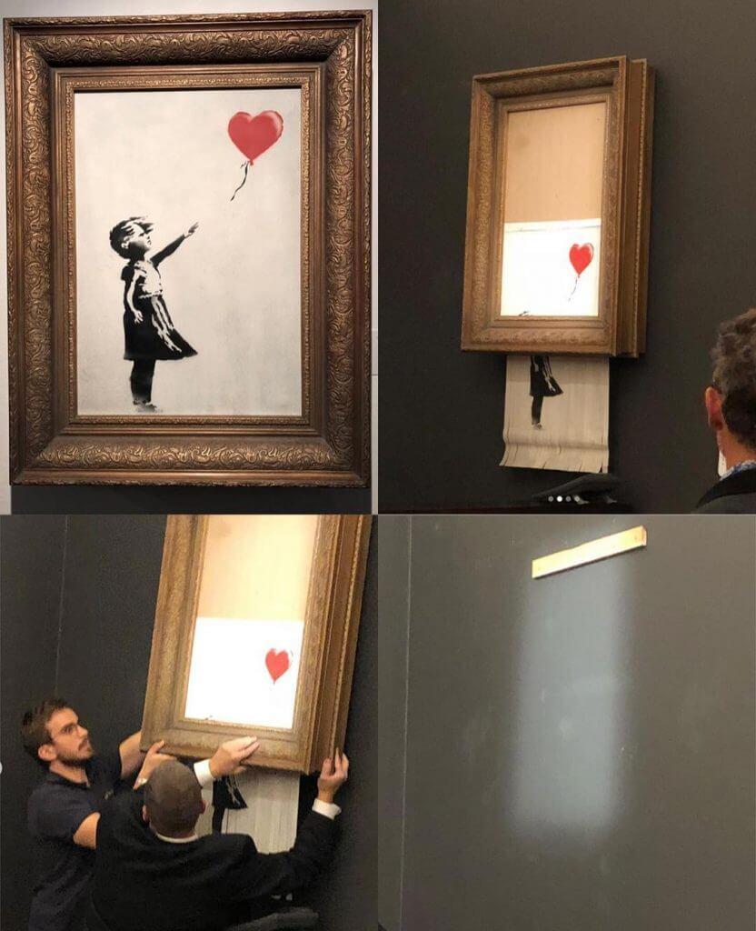 Картина Бенксі відразу самознищилась після продажу