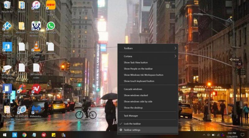 Панель завдань Windows 10