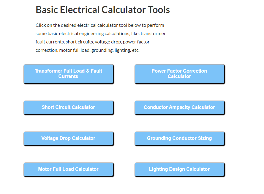 Electrical-Lighting-and-Short-Ckt-Calculators