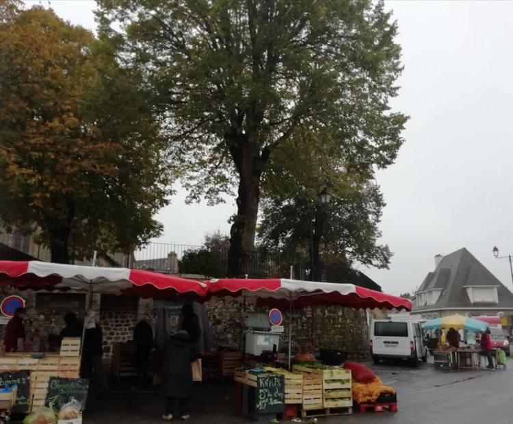 Devant le mairie, Felletin Jour du marché