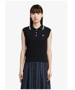 【FRED PERRY】(フレッドペリー)Slee veless Knitted Polo Shirt