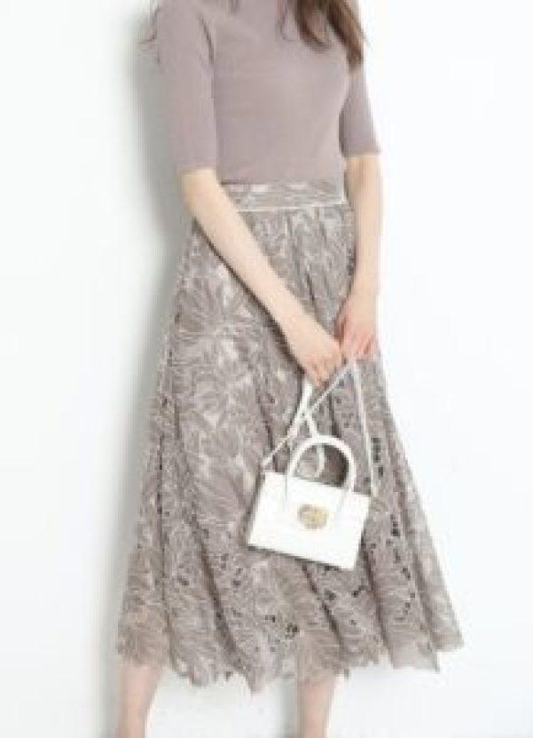 Rirandtrueシアーカットワーク刺繍スカート モカ