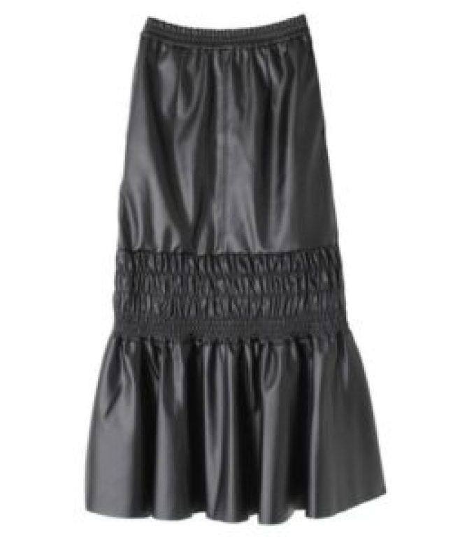 UN3D. エコレザースカート ブラック