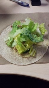 Fill the rest of the wrap with lettuce.