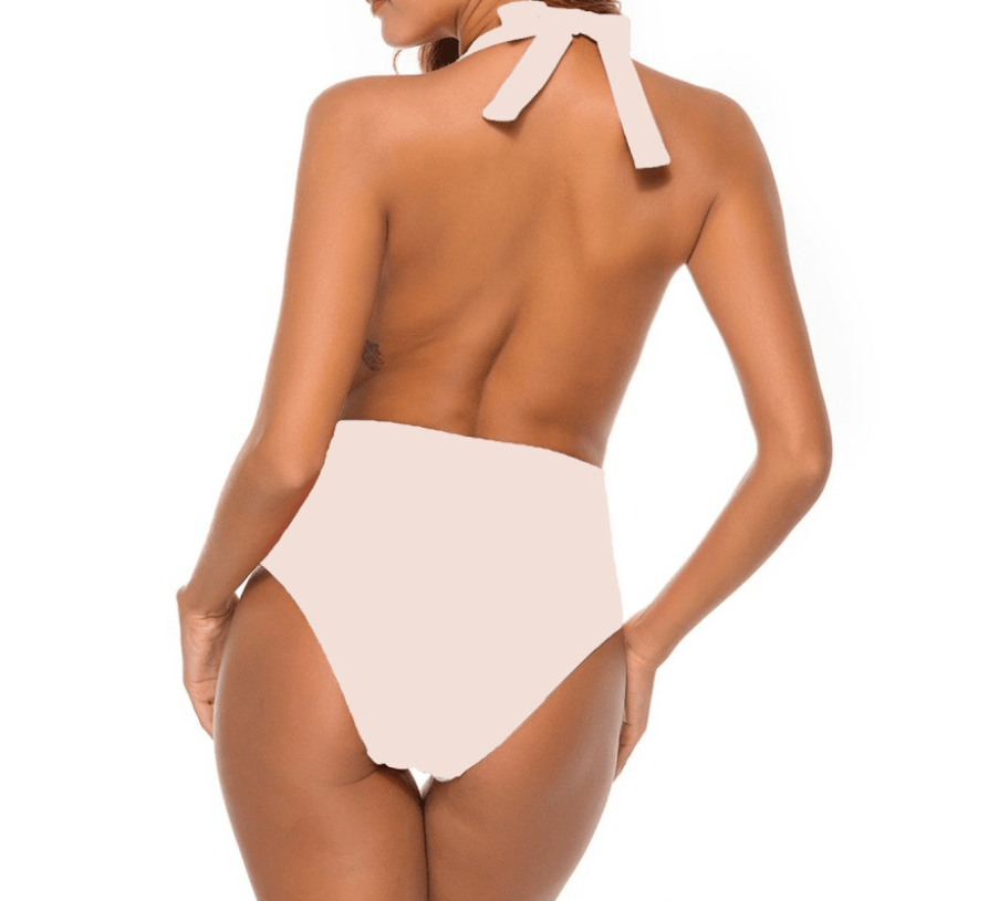 Light Pink Nude Halter One Piece with Free Shipping by TGC FASHION