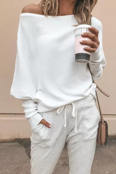 One Shoulder Sleeves Ribbed Sweater in white