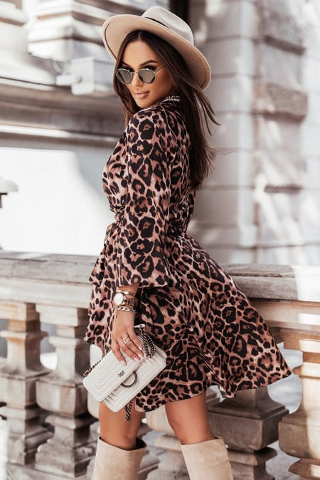 Leopard Wrapped V Neck Puff Sleeve High Low Dress