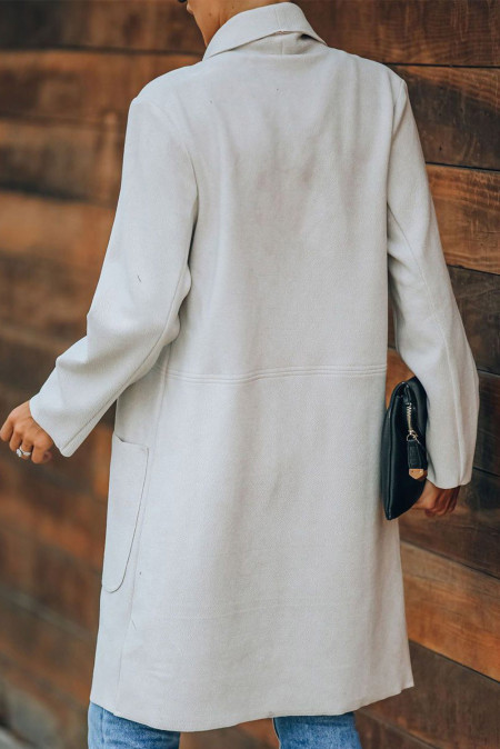 White Turn Down Collar Pocketed Open Front Long Coat