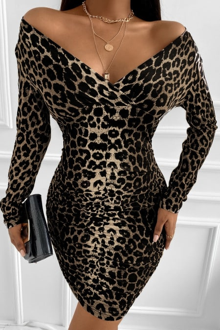 Leopard Off Shoulder Long Sleeve Bodycon Mini Dress tgc fashion 3rd party people