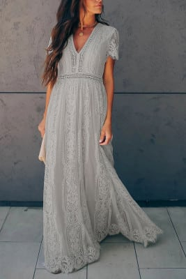 Maxi Lace Dress in 2 colors light gray and white