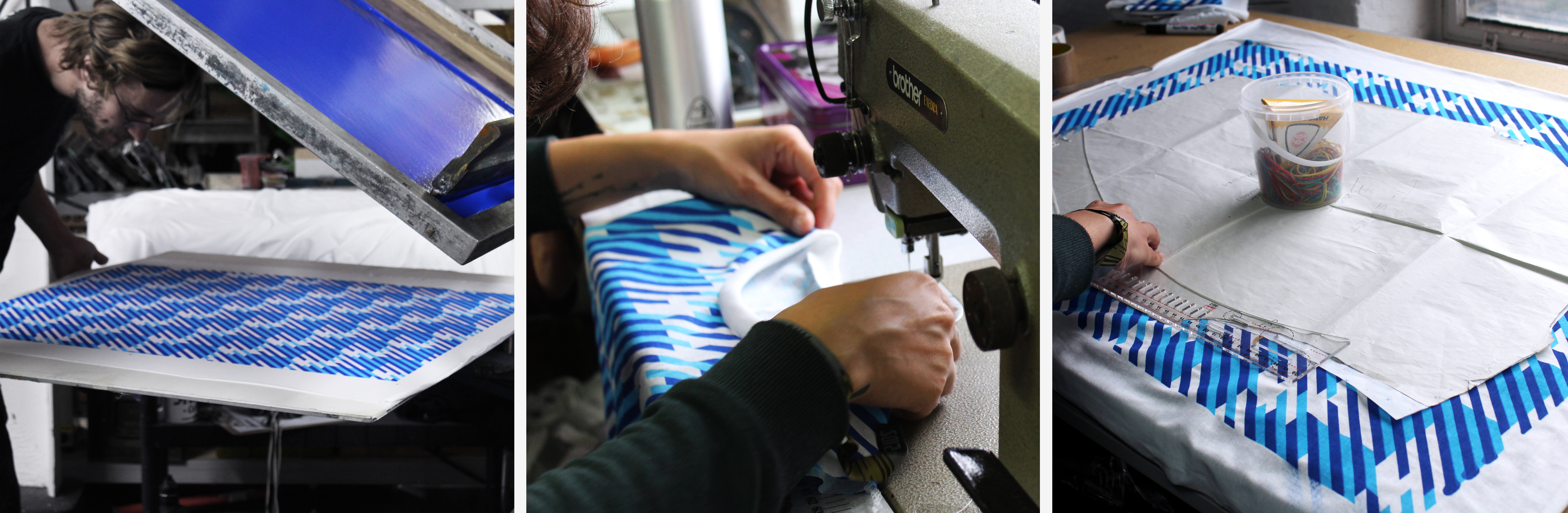 cut and sew process photos for a t-shirt