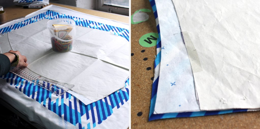 T-shirt patterns being marked and cut.