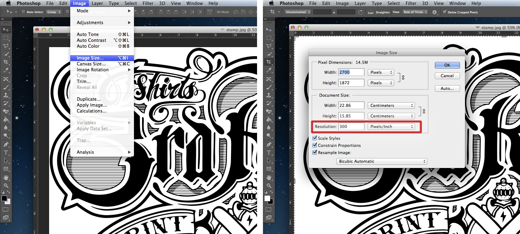 Checking Image resolution for screen printing