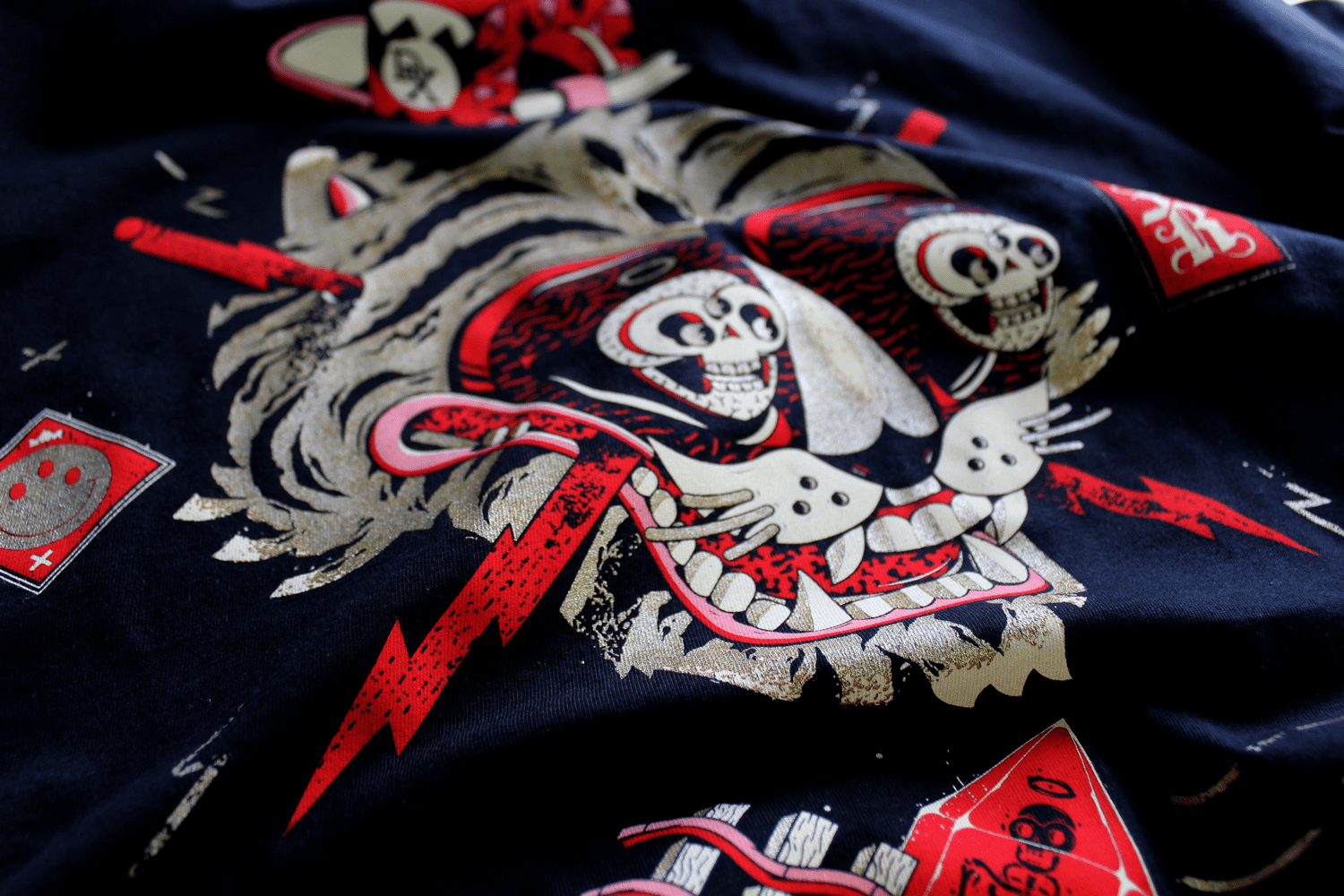 Screen printed t-shirts designed for us by DXTR.