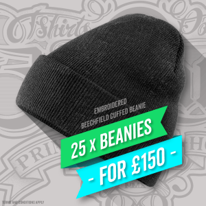 25 x Beechfield Cuffed Beanies With Embroidery