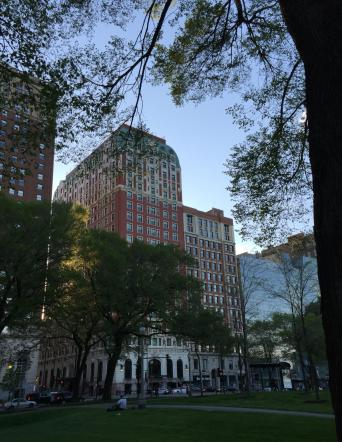 Backlit buildings